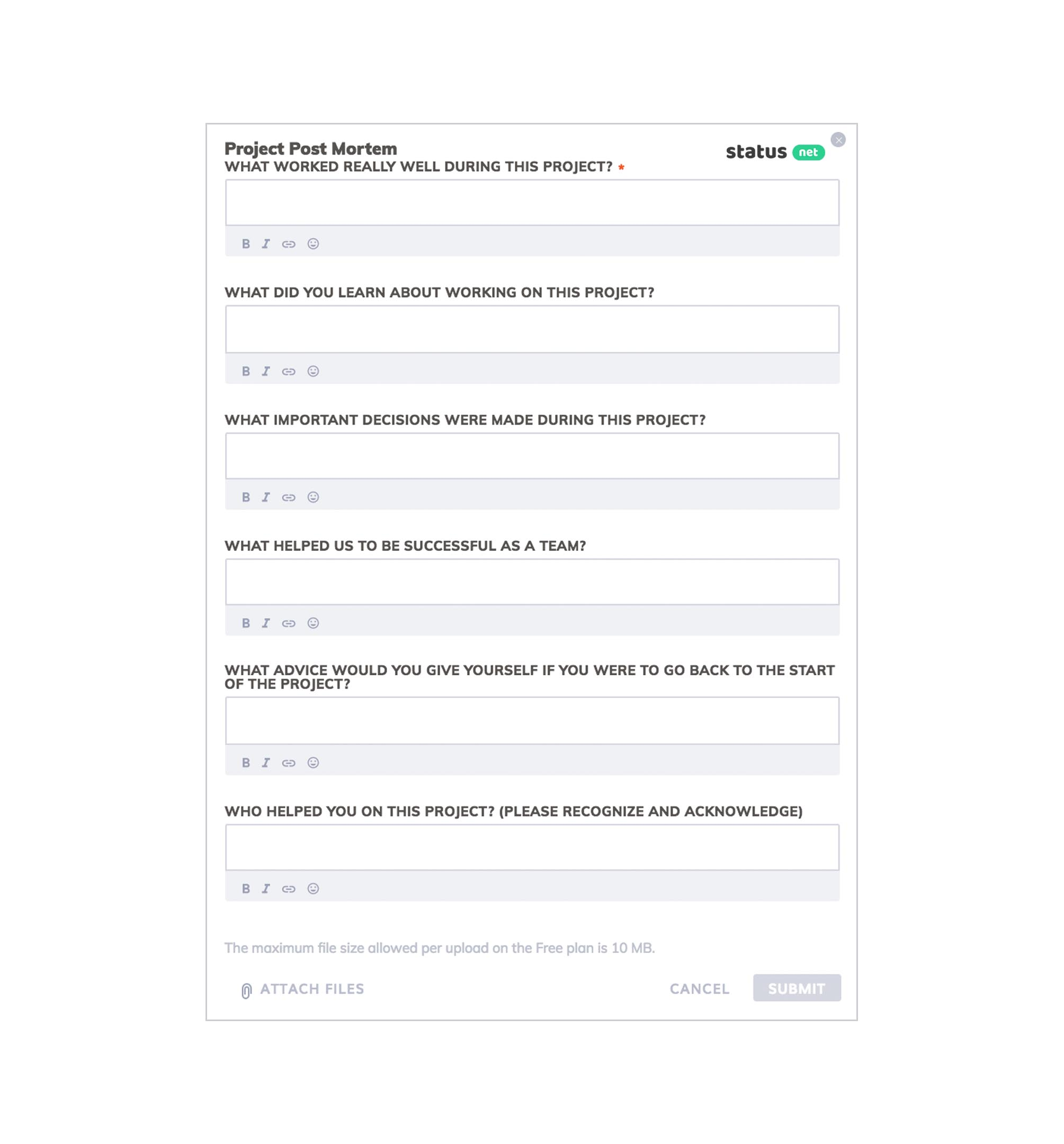 project post mortem form template