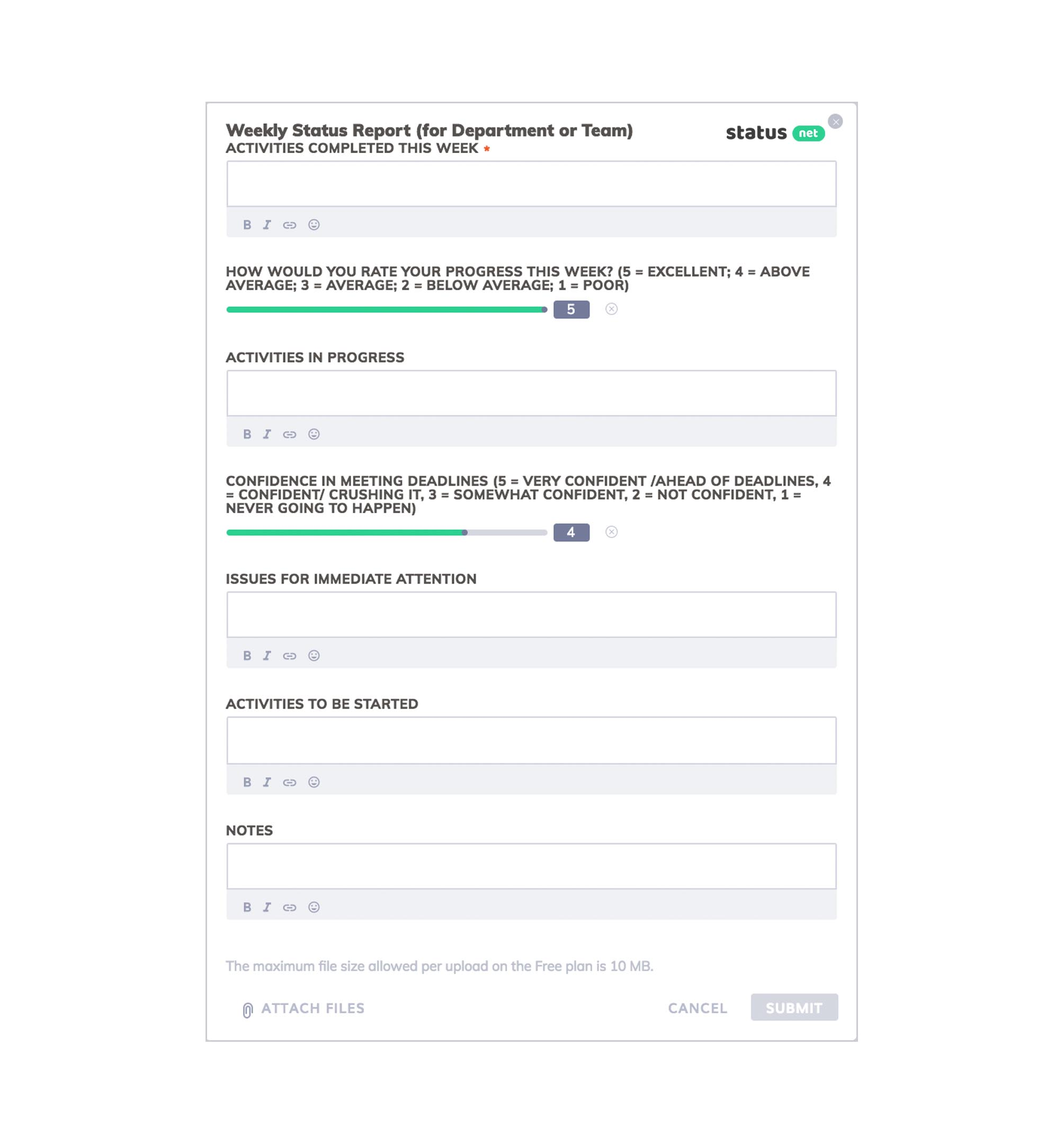 weekly status report form template