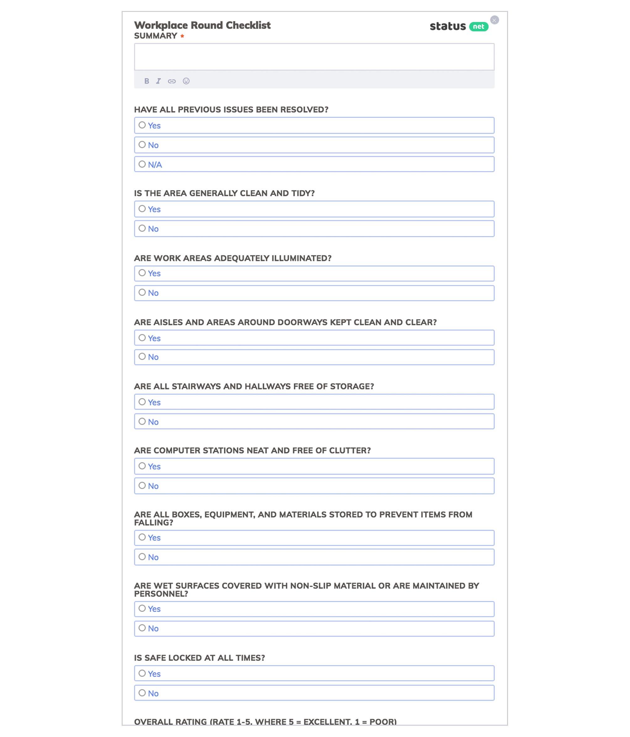 workplace round checklist